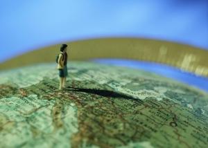 female figure on map of Europe