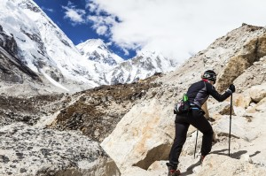 Woman hiking to Everest basecamp