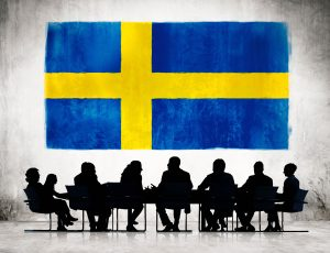 Swedish flag and people copy